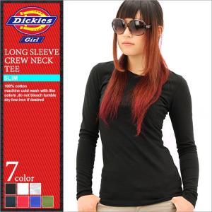 ディッキーズガール Tシャツ 長袖 クルーネック 無地 レディース JR833|大きいサイズ USAモデル Dickies Girl|ディッキーズ 長袖Tシャツ ロンT|f-box