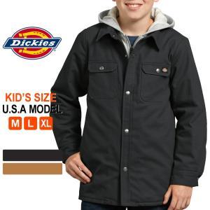 キッズ ディッキーズ アウター シャツジャケット フード付き ダック KJ203|USAモデル Dickies Boys|防寒 子供 男の子 女の子|f-box