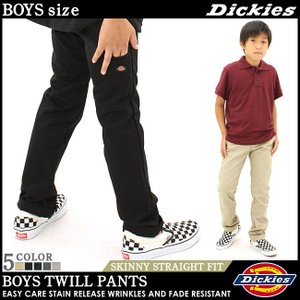[キッズ] ディッキーズ ボーイズ パンツ スキニーストレートフィット ツイル QP801|USAモデル Dickies Boys|長ズボン ワークパンツ チノパン 子供服|f-box