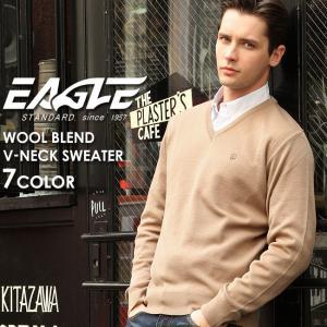 【送料無料】 セーター Vネック 無地 メンズ ニット 大きいサイズ 日本製 日本規格 30001|ブランド EAGLE STANDARD イーグル|ニット ウール|f-box
