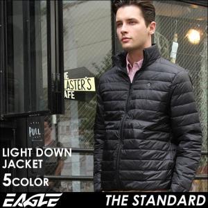 ダウンジャケット メンズ 無地 軽量 撥水 大きいサイズ 日本規格 40003|ブランド EAGLE THE STANDARD イーグル|ライトダウン ライトアウター 防寒 軽い|f-box