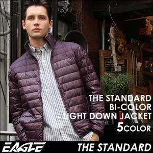 ダウンジャケット メンズ バイカラー軽量 撥水 大きいサイズ 日本規格 40004|ブランド EAGLE THE STANDARD イーグル|ライトダウン ライトアウター 防寒 軽い|f-box