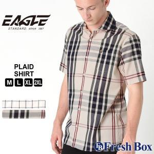 【送料無料】 シャツ 半袖 ワイドカラー ブロード チェック柄 メンズ 大きいサイズ 日本規格|EAGLE STANDARD イーグル|半袖シャツ カジュアル ワイシャツ|f-box