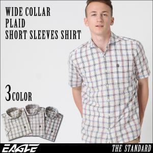 シャツ 半袖 メンズ ワイドカラー チェック柄 大きいサイズ 日本規格|ブランド EAGLE THE STANDARD イーグル|半袖シャツ|f-box