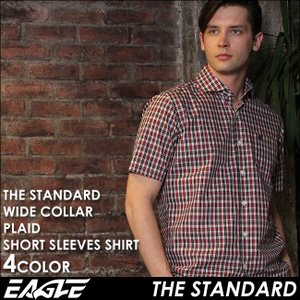 シャツ 半袖 メンズ ワイドカラー チェック柄 大きいサイズ 日本規格|ブランド EAGLE THE STANDARD イーグル|半袖シャツ ワイシャツ Yシャツ カジュアル|f-box