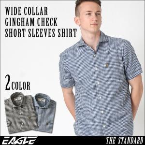 シャツ 半袖 メンズ ワイドカラー チェック柄 大きいサイズ 日本規格|ブランド EAGLE THE STANDARD イーグル|半袖シャツ ギンガムチェック|f-box