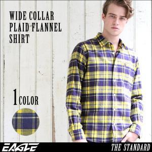 シャツ 長袖 厚手 メンズ ワイドカラー チェック柄 ネルシャツ 大きいサイズ 日本規格|ブランド EAGLE THE STANDARD イーグル|長袖シャツ ワイシャツ Yシャツ|f-box