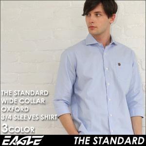 シャツ 七分袖 メンズ ワイドカラー オックスフォード 大きいサイズ 日本規格|ブランド EAGLE THE STANDARD イーグル|ワイシャツ Yシャツ 7分袖 カジュアル|f-box