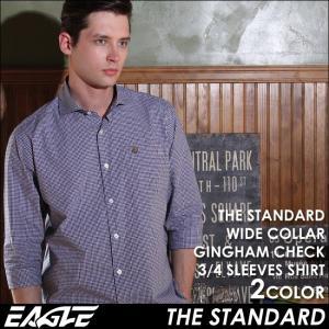 7分袖 シャツ メンズ カジュアルシャツ 七分袖 チェックシャツ ギンガムチェック メンズ ワイドカラー カジュアルシャツ 7分袖シ EAGLE THE STANDARD イーグル|f-box