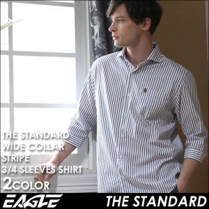 7分袖 シャツ メンズ カジュアルシャツ 七分袖 ストライプシャツ メンズ ワイドカラー カジュアルシャツ ストライプ 7分袖シャツ EAGLE THE STANDARD イーグル|f-box