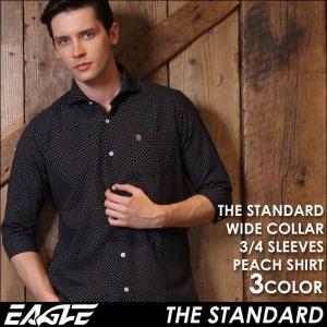 シャツ 七分袖 メンズ ワイドカラー ピーチスキン ドット柄 大きいサイズ 日本規格|ブランド EAGLE THE STANDARD イーグル|ワイシャツ Yシャツ カジュアル|f-box