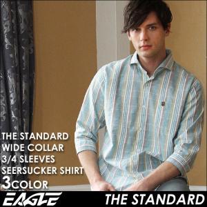 7分袖 シャツ メンズ カジュアルシャツ 七分袖 チェック柄 チェックシャツ ワイドカラー カジュアルシャツ チェック 7分袖シャツ EAGLE THE STANDARD イーグル|f-box