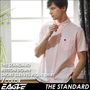 シャツ 半袖 メンズ ボタンダウン ポケット 鹿の子 無地 大きいサイズ 日本規格|ブランド EAGLE THE STANDARD イーグル|半袖シャツ カジュアル|f-box