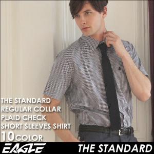 シャツ 半袖 メンズ レギュラーカラー チェック柄 大きいサイズ 日本規格|ブランド EAGLE THE STANDARD イーグル|半袖シャツ カジュアル オープンシャツ|f-box