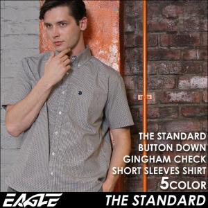 シャツ 半袖 メンズ ボタンダウン チェック柄 大きいサイズ 日本規格|ブランド EAGLE THE STANDARD イーグル|半袖シャツ カジュアル ギンガムチェック|f-box