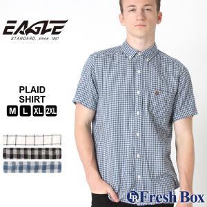【送料無料】 シャツ 半袖 ボタンダウン ガーゼ チェック柄 メンズ 大きいサイズ 日本規格|EAGLE STANDARD イーグル|半袖シャツ カジュアル ワイシャツ|f-box