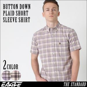 シャツ 半袖 メンズ ボタンダウン チェック柄 大きいサイズ 日本規格|ブランド EAGLE THE STANDARD イーグル|半袖シャツ|f-box