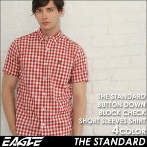 シャツ 半袖 メンズ ボタンダウン 大きいサイズ 日本規格|ブランド EAGLE THE STANDARD イーグル|半袖シャツ ワイシャツ Yシャツ カジュアル ブロックチェック|f-box