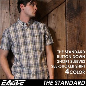 シャツ 半袖 ボタンダウン サッカー チェック柄 メンズ 日本規格 88018|ブランド EAGLE THE STANDARD イーグル|ワイシャツ Yシャツ カジュアル コットン|f-box