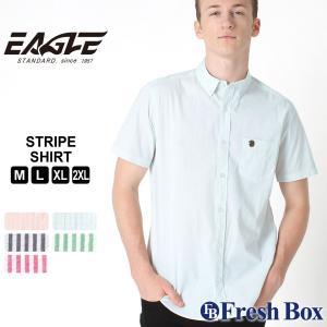 【送料無料】 シャツ 半袖 ボタンダウン シアサッカー ストライプ メンズ 大きいサイズ 日本規格|EAGLE STANDARD イーグル|半袖シャツ カジュアル ワイシャツ|f-box