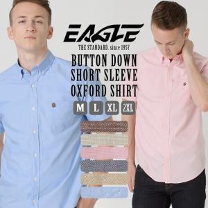 シャツ 半袖 メンズ ボタンダウン オックスフォード シャンブレー 大きいサイズ 日本規格|ブランド EAGLE THE STANDARD イーグル|半袖シャツ|f-box