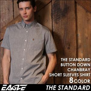 【送料無料】 シャツ 半袖 メンズ ボタンダウン シャンブレー 大きいサイズ 日本規格|EAGLE STANDARD イーグル|半袖シャツ カジュアル ワイシャツ Yシャツ|f-box
