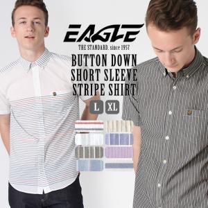 シャツ 半袖 メンズ ボタンダウン ポケット ストライプ 大きいサイズ 日本規格|ブランド EAGLE THE STANDARD イーグル|半袖シャツ カジュアル 2019 春夏 新作|f-box