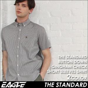 シャツ 半袖 メンズ ボタンダウン チェック柄 日本規格|ブランド EAGLE THE STANDARD イーグル|半袖シャツ カジュアル ギンガムチェック|f-box