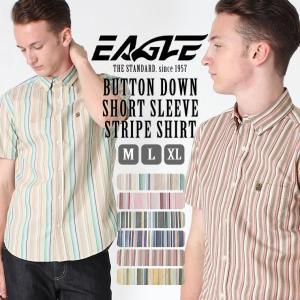 【送料無料】 シャツ 半袖 メンズ ボタンダウン ポケット ストライプ 大きいサイズ 日本規格|ブランド EAGLE STANDARD イーグル|半袖シャツ カジュアル|f-box