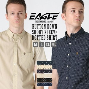 【送料無料】 シャツ 半袖 メンズ ボタンダウン ポケット ドット柄 大きいサイズ 日本規格|ブランド EAGLE STANDARD イーグル|半袖シャツ カジュアル|f-box