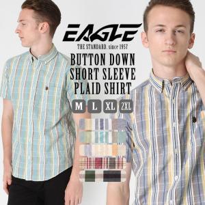 シャツ 半袖 メンズ ボタンダウン ポケット チェック柄 大きいサイズ シャツ 日本規格|ブランド EAGLE THE STANDARD イーグル|半袖シャツ 2019 春夏 新作|f-box