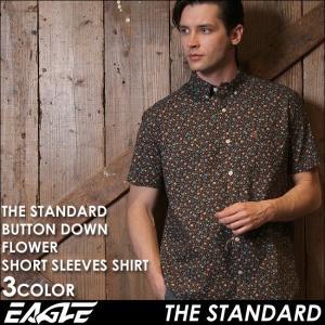 シャツ メンズ 半袖 花柄 ボタンダウン カジュアルシャツ半袖 花柄 シャツ メンズ ボタンダウンシャツ メンズ カジュアルシャツ EAGLE THE STANDARD イーグル|f-box