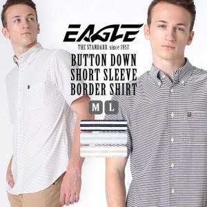 シャツ 半袖 メンズ ボタンダウン ポケット ボーダー 大きいサイズ 日本規格|ブランド EAGLE THE STANDARD イーグル|半袖シャツ カジュアル 2019 春夏 新作|f-box