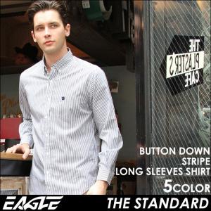 【送料無料】 EAGLE STANDARD イーグル ストライプ シャツ メンズ 長袖 ボタンダウンシャツ カジュアルシャツ 長袖シャツ ストライプ柄 ワイシャツ Yシャツ|f-box