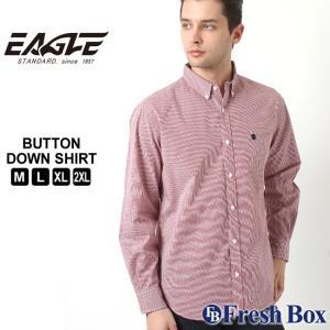 【送料無料】 EAGLE STANDARD イーグル シャツ メンズ 長袖 チェックシャツ ボタンダウンシャ チェック柄 ギンガムチェック カジュアルシャツ ワイシャツ|f-box