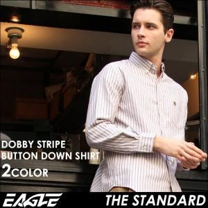 EAGLE THE STANDARD イーグル ストライプ シャツ メンズ 長袖 ボタンダウンシャツ カジュアルシャツ 長袖シャツ ストライプ柄 ワイシャツ Yシャツ|f-box