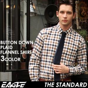 シャツ 長袖 厚手 メンズ ボタンダウン ネルシャツ チェック柄 大きいサイズ 日本規格|ブランド EAGLE THE STANDARD イーグル|長袖シャツ ワイシャツ Yシャツ|f-box