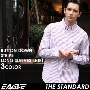 シャツ 長袖 メンズ ボタンダウン ストライプ 大きいサイズ 日本規格 89025|ブランド EAGLE THE STANDARD イーグル|長袖シャツ ワイシャツ Yシャツ カジュアル|f-box