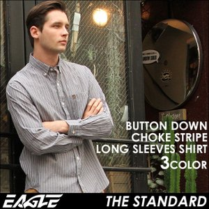 シャツ 長袖 メンズ ボタンダウン ストライプ 大きいサイズ 日本規格 89026|ブランド EAGLE THE STANDARD イーグル|長袖シャツ ワイシャツ Yシャツ カジュアル|f-box