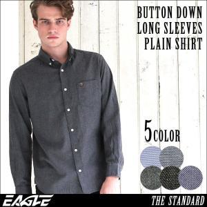 シャツ 長袖 ボタンダウン シャンブレー フランネル 大きいサイズ 日本規格|ブランド EAGLE THE STANDARD イーグル|長袖シャツ ネルシャツ カジュアル|f-box
