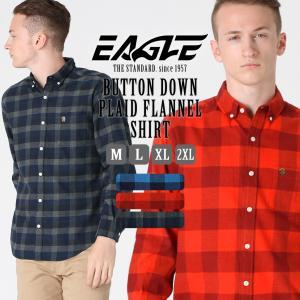 シャツ 長袖 メンズ ボタンダウン チェック柄 フランネル 大きいサイズ 日本規格|ブランド EAGLE THE STANDARD イーグル|長袖シャツ ネルシャツ|f-box