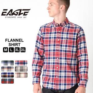 【送料無料】 シャツ 長袖 ボタンダウン ポケット フランネル チェック柄 メンズ 大きいサイズ 日本規格|ブランド EAGLE STANDARD イーグル|長袖シャツ|f-box