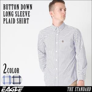 シャツ 長袖 メンズ ボタンダウン チェック柄 大きいサイズ 日本規格|ブランド EAGLE THE STANDARD イーグル|長袖シャツ|f-box