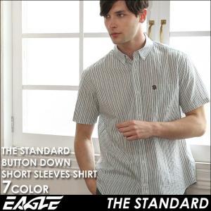 【送料無料】 シャツ 半袖 メンズ ボタンダウン ストライプ 大きいサイズ 日本規格|EAGLE STANDARD イーグル|半袖シャツ ワイシャツ Yシャツ カジュアル|f-box