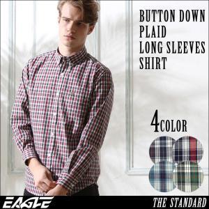 シャツ 長袖 メンズ ボタンダウン チェック柄 大きいサイズ 日本規格|ブランド EAGLE THE STANDARD イーグル|長袖シャツ カジュアル|f-box