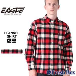 【送料無料】 ネルシャツ メンズ ブランド ボタンダウン カジュアルシャツ 長袖シャツ 大きいサイズ EAGLE STANDARD イーグル (eagle-89048 )|f-box
