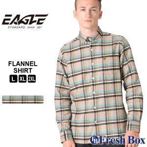 【送料無料】 ネルシャツ メンズ ブランド ボタンダウン カジュアルシャツ 長袖シャツ 大きいサイズ EAGLE STANDARD イーグル (eagle-89055 )|f-box