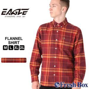 【送料無料】 ネルシャツ メンズ ブランド ボタンダウン カジュアルシャツ 長袖シャツ 大きいサイズ EAGLE STANDARD イーグル (eagle-89058 )|f-box