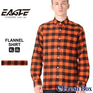 【送料無料】 ネルシャツ メンズ ブランド ボタンダウン カジュアルシャツ 長袖シャツ 大きいサイズ EAGLE STANDARD イーグル (eagle-89060 )|f-box