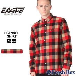 【送料無料】 ネルシャツ メンズ ブランド ボタンダウン カジュアルシャツ 長袖シャツ 大きいサイズ EAGLE STANDARD イーグル (eagle-89061 )|f-box